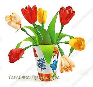 Книга, Мастер-класс,  Бумагопластика, : Тюльпаны из гофрированной бумаги Бумага гофрированная, Проволока 8 марта,