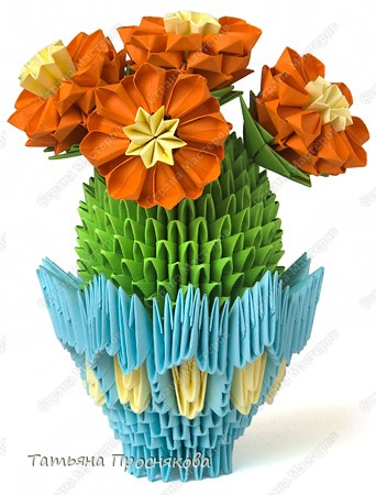 Мастер-класс,  Оригами модульное, : Цветущий кактус из модулей Бумага