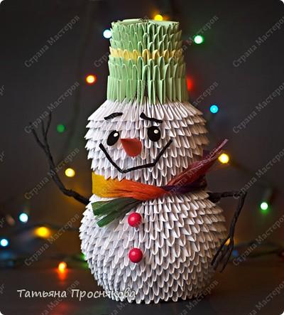 Оригами модульное: Снеговик из модулей