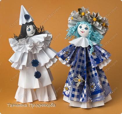 Куклы, Мастер-класс Оригами модульное: Мальвина и Пьеро Бумага Валентинов день