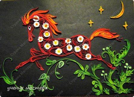 Картина, панно Квиллинг: Красный конь Бумага. Фото 1