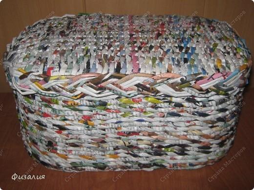 Украшение интерьера Плетение: Шкатулка для рукоделия- 17 Бумага<br /> журнальная, Картон, Коробки, Поролон Отдых. Фото 1