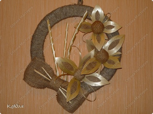 Мастер-класс, Поделка: Панно. Соломенные цветы. МК Мешковина, Соломка, Шпагат. Фото 14