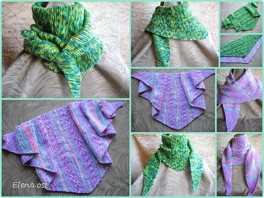 Мастер-класс Вязание, Вязание спицами: Бактус - треугольный шарф-косынка МК Пряжа День рождения. Фото 1