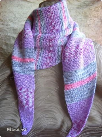 Мастер-класс Вязание, Вязание спицами: Бактус - треугольный шарф-косынка МК Пряжа День рождения. Фото 14