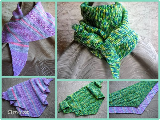 Мастер-класс Вязание, Вязание спицами: Бактус - треугольный шарф-косынка МК Пряжа День рождения. Фото 15