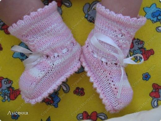 Мастер-класс Вязание спицами: Пинетки для лапочки-дочки Нитки. Фото 1