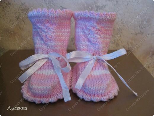 Мастер-класс Вязание спицами: Пинетки для лапочки-дочки Нитки. Фото 2