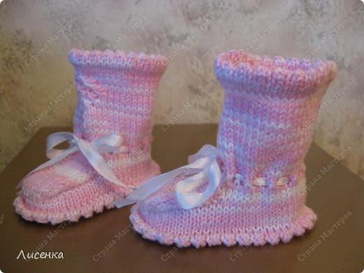 Мастер-класс Вязание спицами: Пинетки для лапочки-дочки Нитки. Фото 4