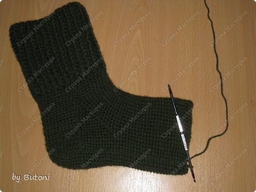 Гардероб, Мастер-класс,  Вязание крючком, : Теплые вязанные носочки! Пряжа . Фото 10