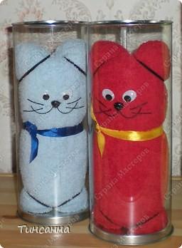 Игрушка, Мастер-класс, Упаковка Шитьё, : Кошки из полотенец   Ленты, Нитки, Ткань Новый год, . Фото 2