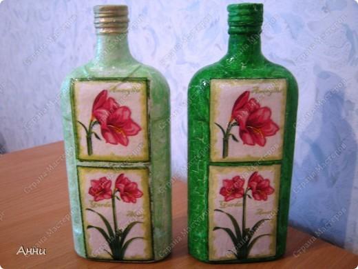 ...Бутылки стеклянные, Салфетки Новый год.  Фото 12.