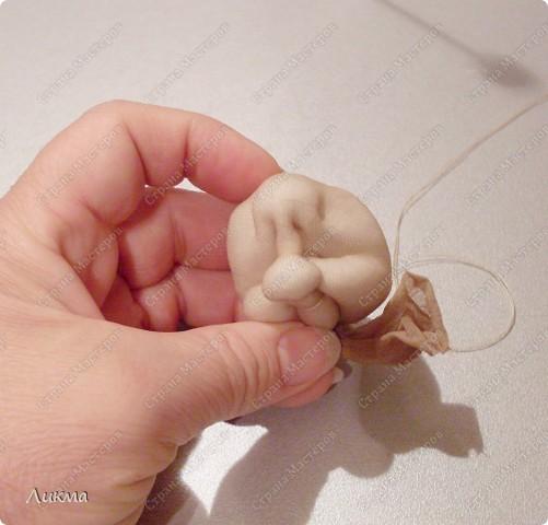 Куклы, Мастер-класс,  Шитьё, : Ангелочек Сплюшка:)) Делаем головку..... Капрон, Нитки, Ткань Рождество, . Фото 25