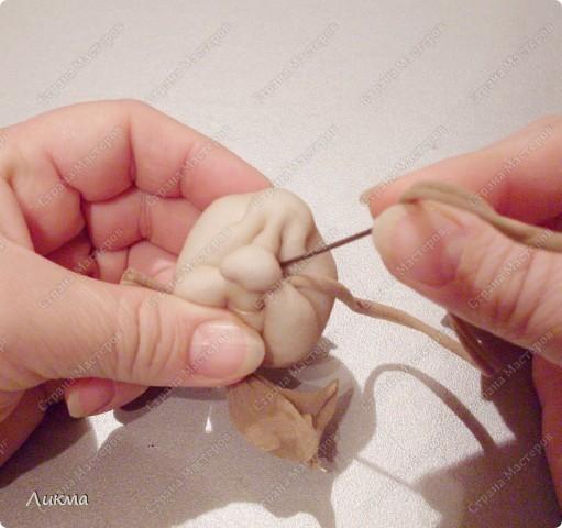 Куклы, Мастер-класс,  Шитьё, : Ангелочек Сплюшка:)) Делаем головку..... Капрон, Нитки, Ткань Рождество, . Фото 30