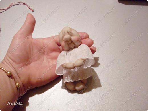 Куклы, Мастер-класс,  Шитьё, : Ангелочек Сплюшка:) Подводим итог..... Капрон, Нитки, Тарелки одноразовые, Ткань Рождество, . Фото 9