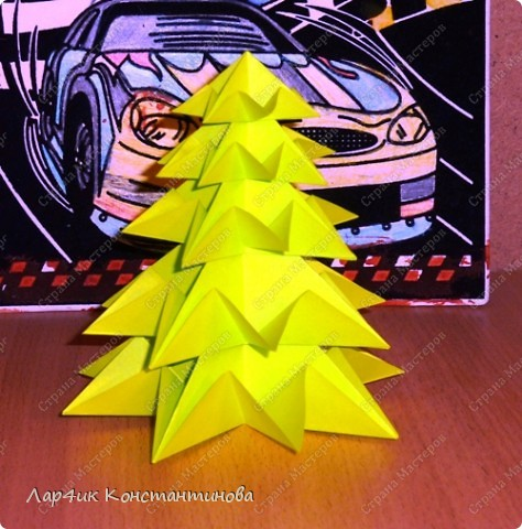 Мастер-класс, Поделка, изделие, Украшение Оригами, Оригами модульное, : С НАСТУПАЮЩИМ НОВЫМ ГОДОМ! МК ёлочки. Бумага Новый год, . Фото 1
