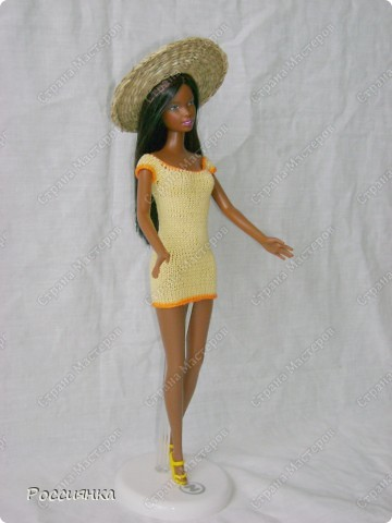 Платье для куклы крючком: