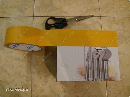 Декор предметов, Мастер-класс: Коробочка для бумаг.  Мастер-класс...Часть 1... Клей, Коробки, Материал бросовый, Пуговицы,  Скотч, Шпагат. Фото 7