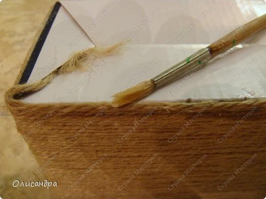 Декор предметов, Мастер-класс: Коробочка для бумаг.  Мастер-класс...Часть 1... Клей, Коробки, Материал бросовый, Пуговицы,  Скотч, Шпагат. Фото 16