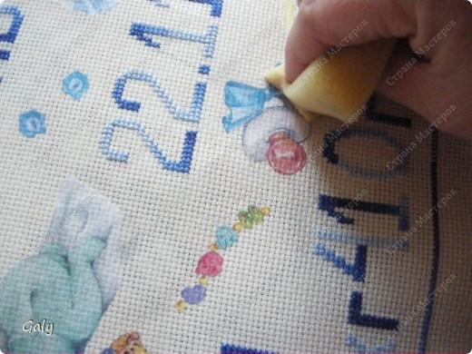 Мастер-класс Вышивка крестом, Декупаж: Метрика для племянника Нитки, Салфетки День рождения. Фото 13