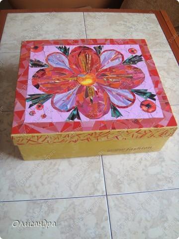 Очень хочу делать мозайку...Решила поучиться на обувной коробке, т.е. на том,что не жалко испортить.... Фото 3