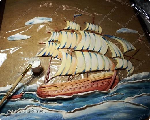 Я делала уже такой корабль около года назад. Размер работы 60х50 см. Сейчас покажу, как я его лепила и расписывала))). Фото 40