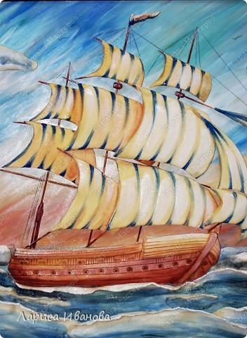 Я делала уже такой корабль около года назад. Размер работы 60х50 см. Сейчас покажу, как я его лепила и расписывала))). Фото 55
