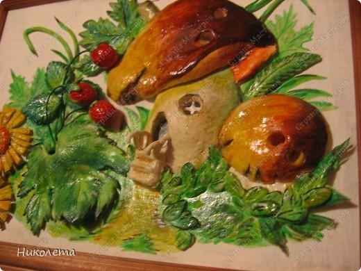 Картина, панно Лепка: Тесто солёное (Грибной домик) Акварель, Тесто соленое. Фото 1