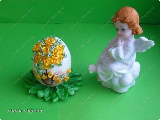 Декор предметов, Мастер-класс Вышивка: топиарий на яйце ,как я его вышиваю Ленты Пасха. Фото 13