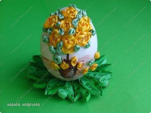 Декор предметов, Мастер-класс Вышивка: топиарий на яйце ,как я его вышиваю Ленты Пасха. Фото 3