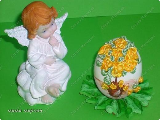 Декор предметов, Мастер-класс Вышивка: топиарий на яйце ,как я его вышиваю Ленты Пасха. Фото 1