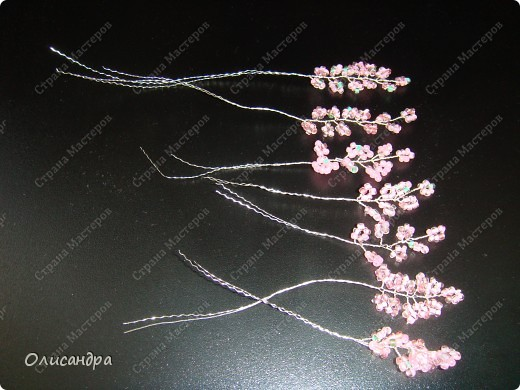Master Class, Craft, gyöngyfűzés termék: Silver Sakura ...  MC ...  Gyöngyök, szálak, Wire.  13. kép