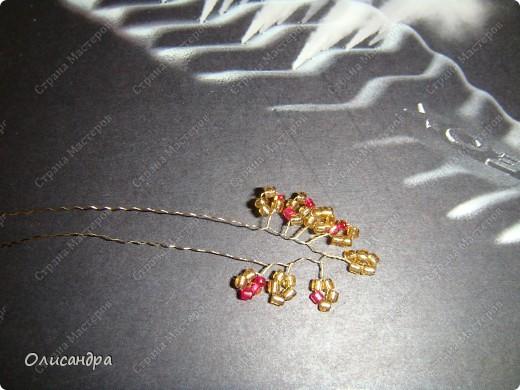 Мастер-класс, Поделка, изделие,  Бисероплетение, : Рубиновое дерево...МК... Бисер, Нитки, Проволока . Фото 8