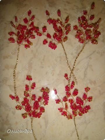 Мастер-класс, Поделка, изделие,  Бисероплетение, : Рубиновое дерево...МК... Бисер, Нитки, Проволока . Фото 12