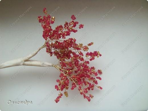 Мастер-класс, Поделка, изделие,  Бисероплетение, : Рубиновое дерево...МК... Бисер, Нитки, Проволока . Фото 19