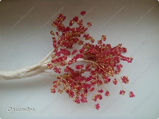 Мастер-класс, Поделка, изделие,  Бисероплетение, : Рубиновое дерево...МК... Бисер, Нитки, Проволока . Фото 25