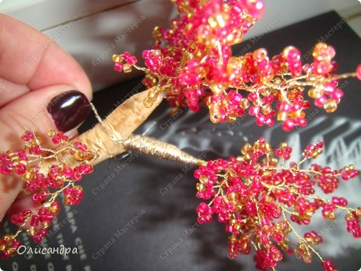 Мастер-класс, Поделка, изделие,  Бисероплетение, : Рубиновое дерево...МК... Бисер, Нитки, Проволока . Фото 31