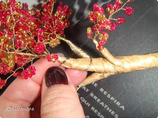 Мастер-класс, Поделка, изделие,  Бисероплетение, : Рубиновое дерево...МК... Бисер, Нитки, Проволока . Фото 32
