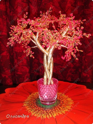 Мастер-класс, Поделка, изделие,  Бисероплетение, : Рубиновое дерево...МК... Бисер, Нитки, Проволока . Фото 1