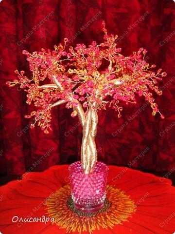 Мастер-класс, Поделка, изделие,  Бисероплетение, : Рубиновое дерево...МК... Бисер, Нитки, Проволока . Фото 38