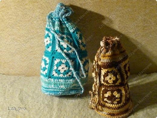 Поделка, изделие Вязание, Вязание крючком: Вязаные сумки-торбы Пряжа...
