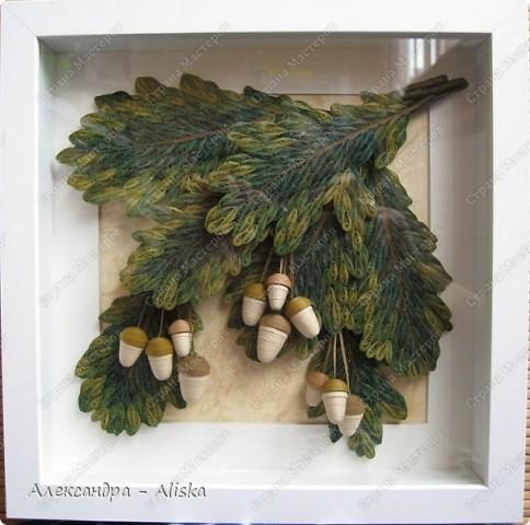 Картина, панно, рисунок Квиллинг: Желуди Бумага. Фото 1