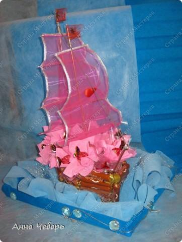 Мастер-класс, Свит-дизайн,  : Мой первый конфетный корабль Бумага гофрированная, Капрон, Ленты, Материал оберточный, Скотч, Тесьма . Фото 23