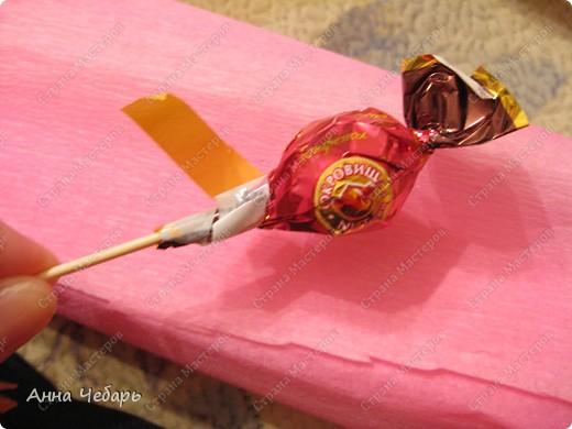 Мастер-класс, Свит-дизайн,  : Мой первый конфетный корабль Бумага гофрированная, Капрон, Ленты, Материал оберточный, Скотч, Тесьма . Фото 14