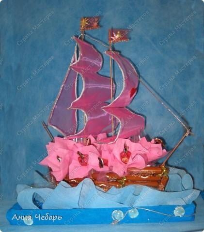 Мастер-класс, Свит-дизайн,  : Мой первый конфетный корабль Бумага гофрированная, Капрон, Ленты, Материал оберточный, Скотч, Тесьма . Фото 1