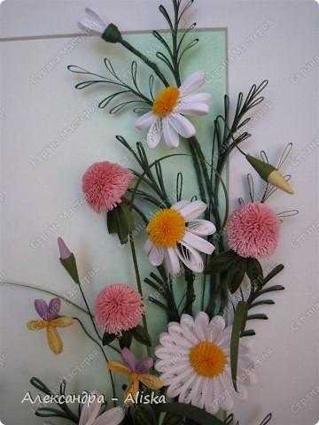 Картина, панно, рисунок Квиллинг: Луговые цветы Бумага День рождения. Фото 2