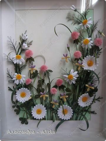 Картина, панно, рисунок Квиллинг: Луговые цветы Бумага День рождения. Фото 6