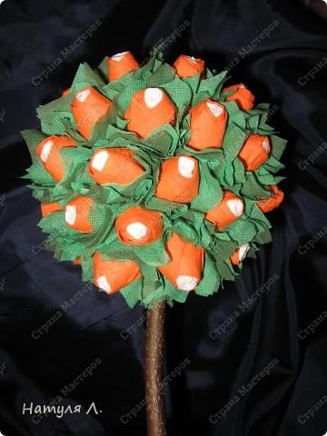 Флористика Бумагопластика: Розовое дерево (+мини МК) Дерево, Салфетки 8 марта, Валентинов день, День рождения. Фото 9