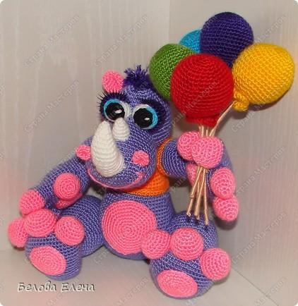 Мастер-класс Вязание крючком: Поздравительный носорог по имени Гоша. Пряжа. Фото 1