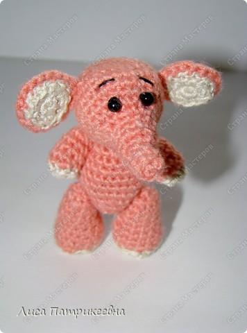 Игрушка, Мастер-класс Вязание крючком: Розовый слоненок Пряжа. Фото 2